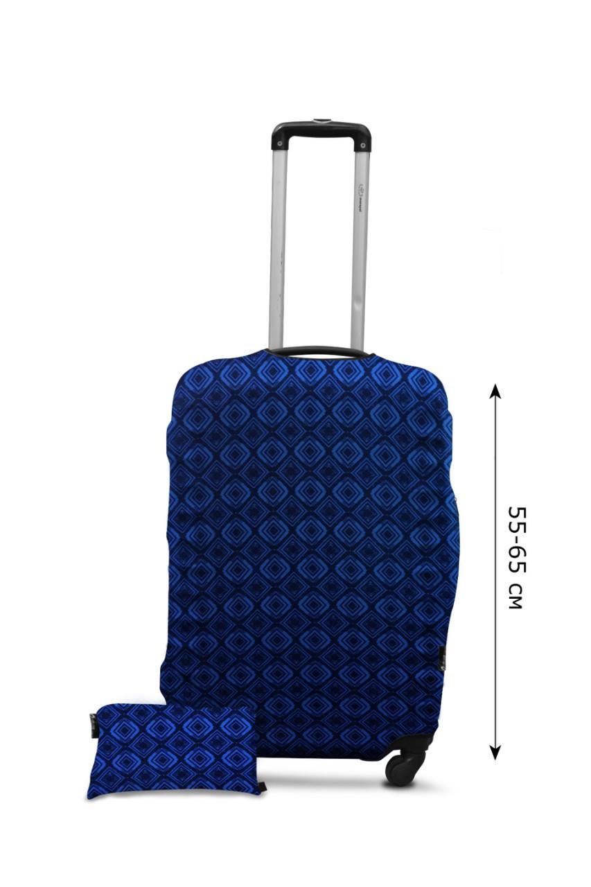 Чехол для чемодана  Coverbag дайвинг L ромбы голубые