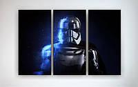 Картина на холсте в интерьере Звездные войны Star Wars Штурмовик 90х60 из 3х частей