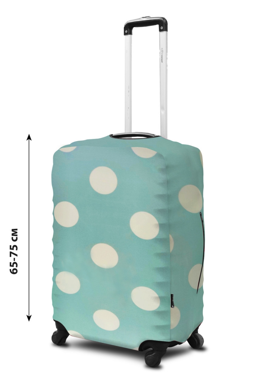 Чехол для чемодана Coverbag неопрен  L горох  мята