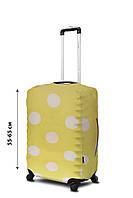 Чехол для чемодана Coverbag  неопрен  M горох желтый