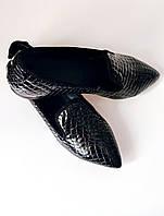 Женские черные лаковые лоферы под кожу рептилии Сity Style - 39 размер, фото 1