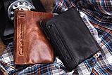 Мужской кошелек из натуральной кожи. Кожаный кошелек мужской портмоне из кожи Коричневый, фото 2
