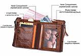 Мужской кошелек из натуральной кожи. Кожаный кошелек мужской портмоне из кожи Коричневый, фото 10