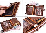 Мужской кошелек из натуральной кожи. Кожаный кошелек мужской портмоне из кожи Коричневый, фото 4