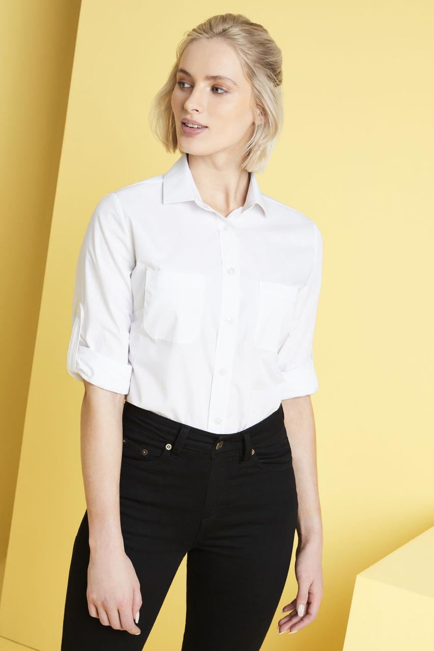 Рубашка для официанта женская белая с карманами Atteks - 02326