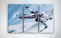 Картина модульная на холсте Звездные войны Star Wars 90х60 из 3х частей