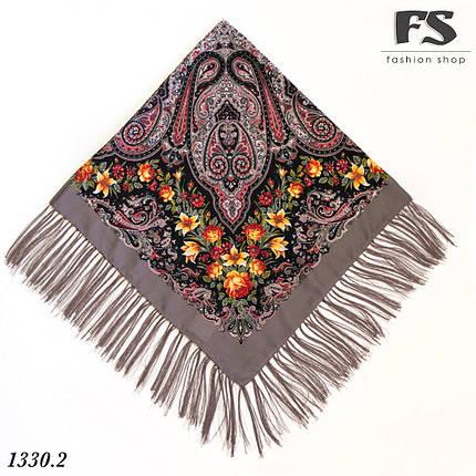 Павлопосадский шерстяной  платок  Рококо, фото 2