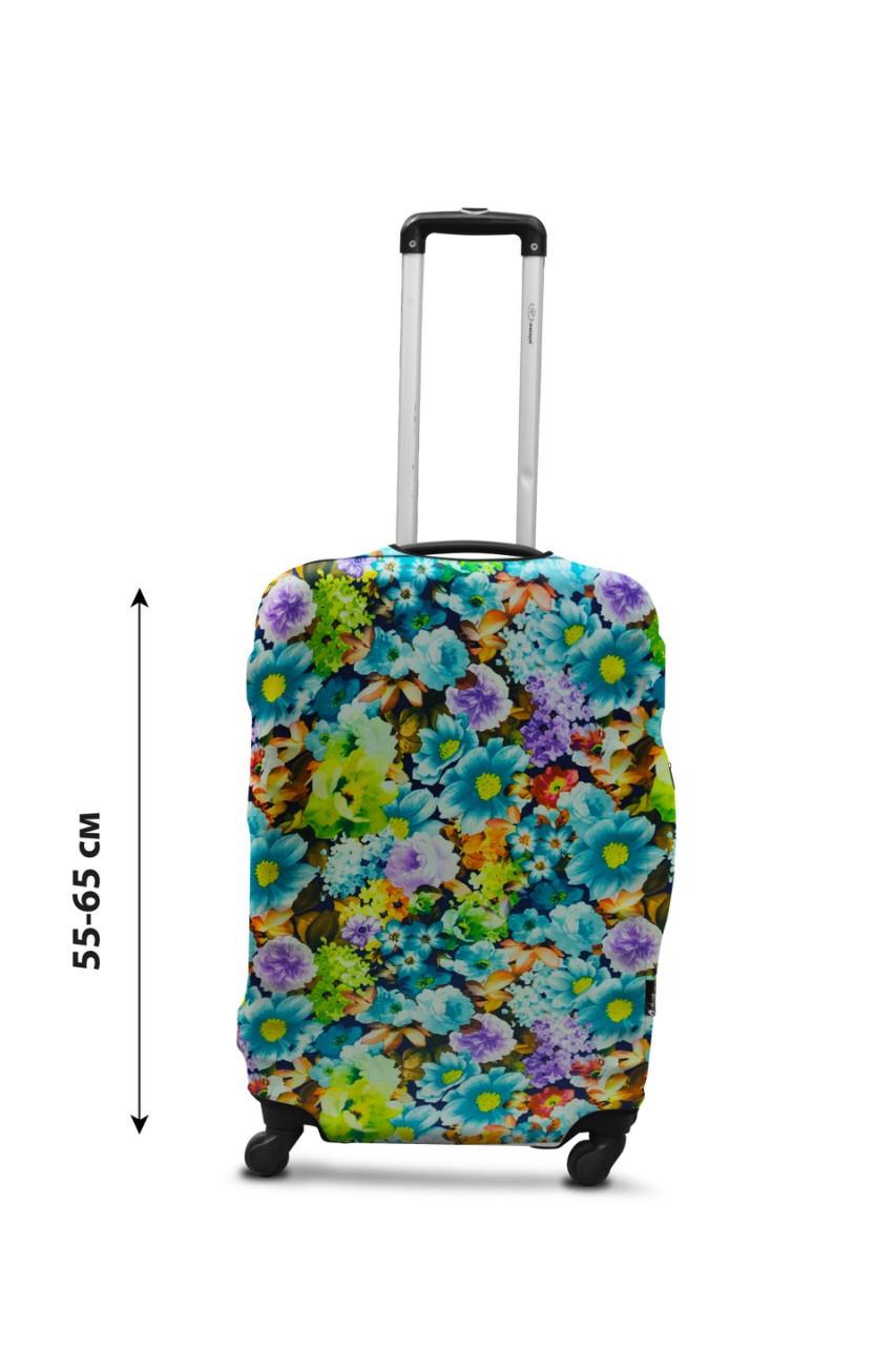 Чехол для чемодана  Coverbag дайвинг  M весенние цветы разноцветный