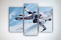 Современная картина модульная постер на холсте Звездные войны Star Wars 90х70 из 3х частей