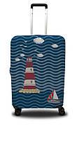 Чехол для чемодана Coverbag маяк M сине-красный