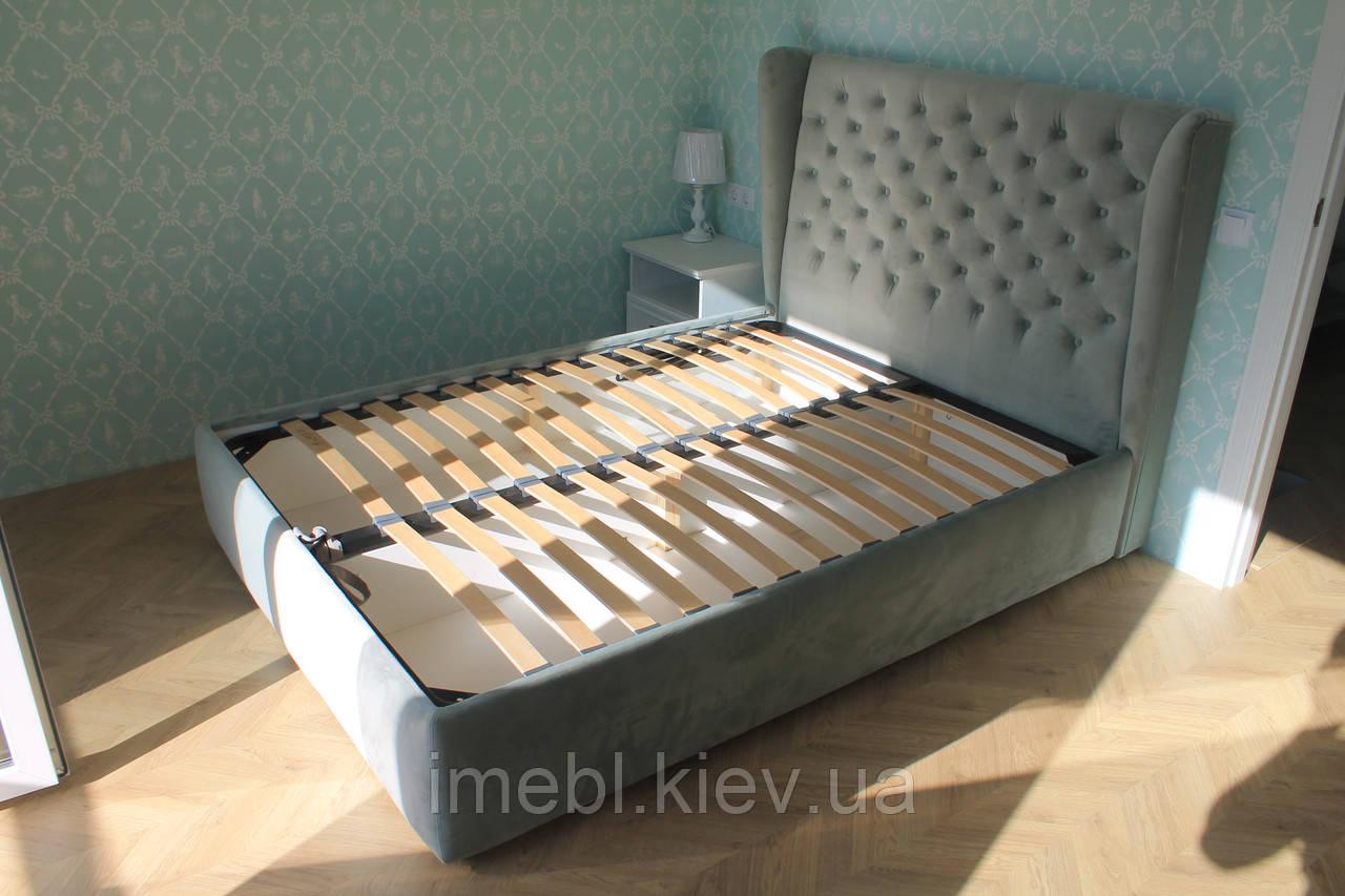 Мягкая кровать с подъёмным механизмом (Голубая)