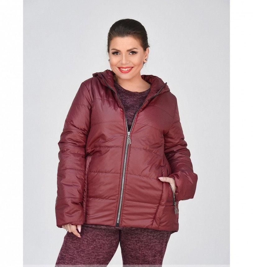 Куртка до бедра, с капюшоном №17-154-бордо