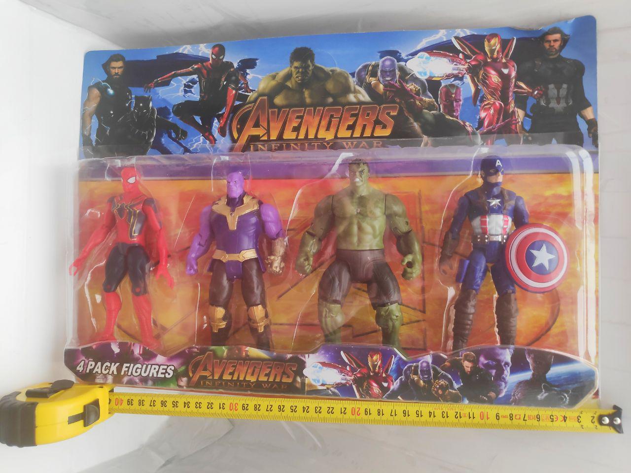 Фигурки супергероев Марвел набор: Паук, Халк, Танос, Капитан Америка