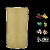 Упаковка для кофе/чая 1кг 210х380мм дно55+55мм (крафт+метал, zip-замок с клапаном) (уп/10шт)