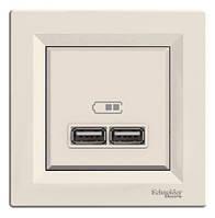 Розетка USB, крем, Schneider electriс Asfora USB 2.0 IP20