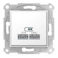 Розетка USB, белый, Schneider electric Sedna