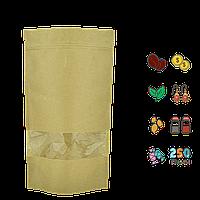 Упаковка для кофе/чая 250г 140х240х40мм (крафт, zip-замок с окошком) (уп/10шт)