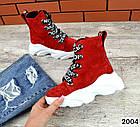 Женские ботинки красного цвета, из натуральной замши, фото 2