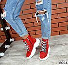 Женские ботинки красного цвета, из натуральной замши, фото 4