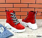 Женские ботинки красного цвета, из натуральной замши, фото 3
