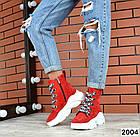 Женские ботинки красного цвета, из натуральной замши, фото 5