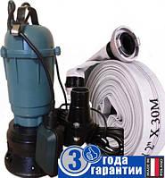 Фекальный насос чугунный корпус с измельчителем Wisla WQD 1,1 + рукав пожарный 10 + трос 5м + хомут, фото 1