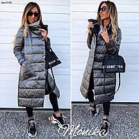 Женская стильная двусторонняя теплая куртка удлиненная Разные цвета