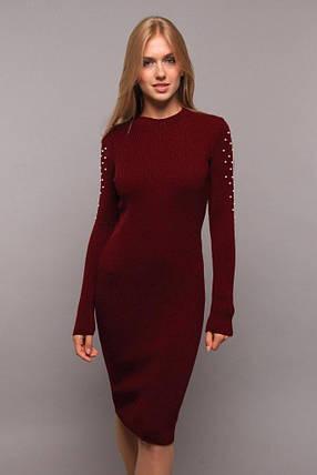 Зимнее платье миди вязанное длинный рукав цвет бордо, фото 2