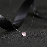 Украшение для шеи камушек на леске (розовый) нежный, фото 1