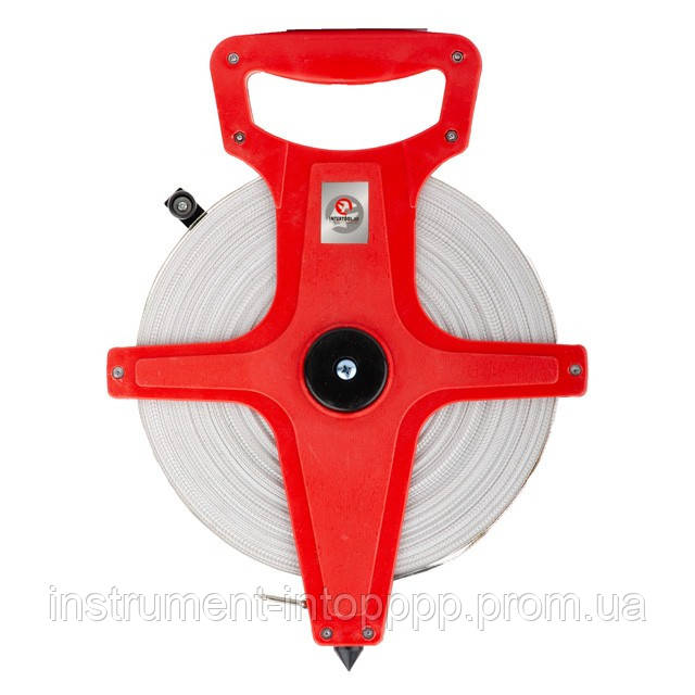Рулетка геодезическая с полотном из стекловолокна 50 м*13 мм INTERTOOL MT-0755