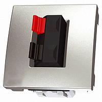 Аудиорозетка двухмодульная, алюминий, Schneider electric Unica