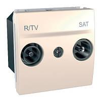 Розетка TV/FM-SAT проходная 2-модульная, слоновая кость, Schneider electric Unica