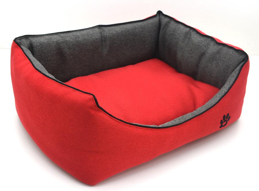 Лежак для собак и котов Loft №1 30х40х18 см красный + серый