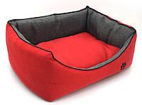 Лежак для собак и котов Loft №1 30х40х18 см красный + серый, фото 1