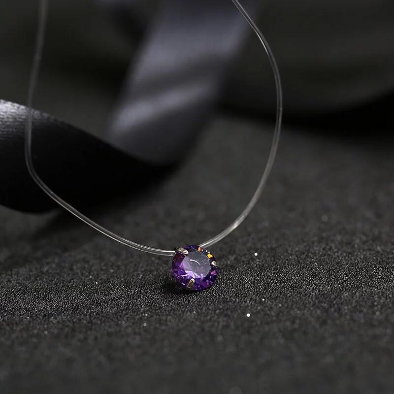 Украшение камушек на леске, подвеска на леске, колье (фиолетовый)