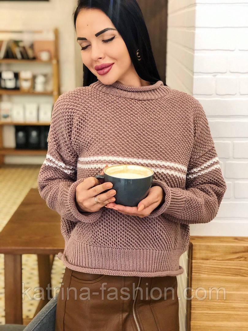 Женский стильный базовый шерстяной свитер с полосками (в расцветках)
