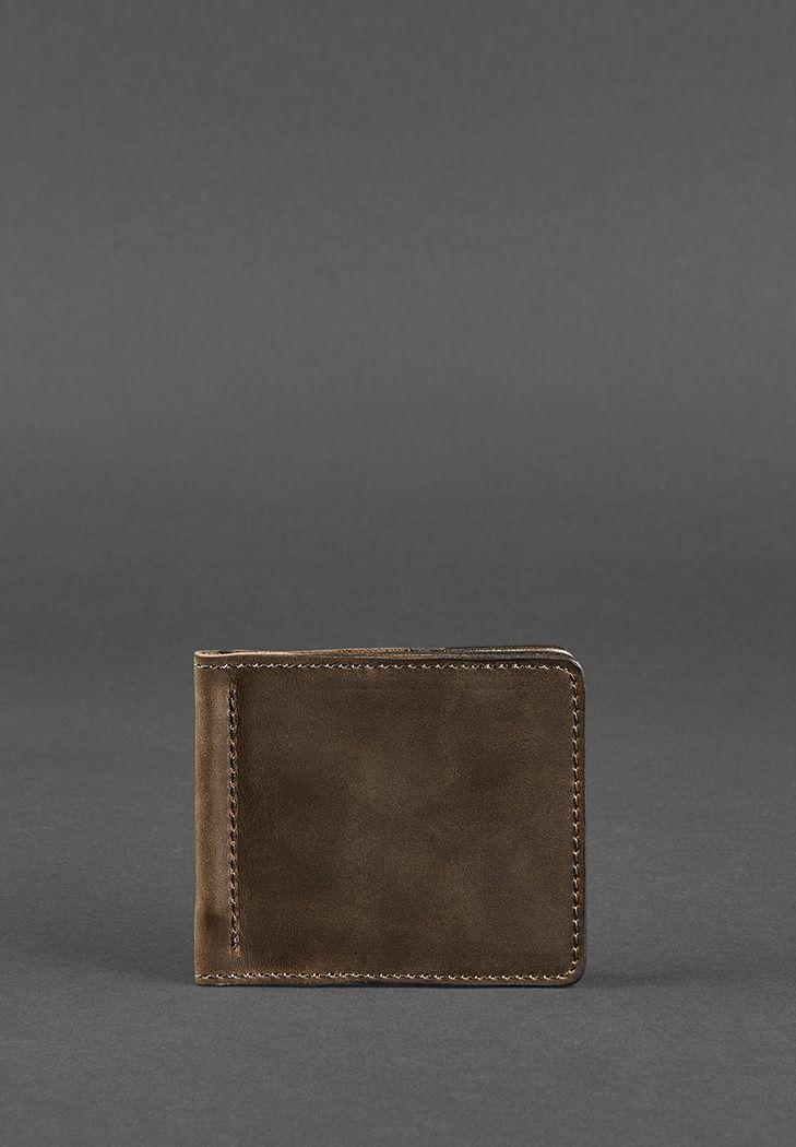 Мужское кожаное портмоне (зажим для денег). Темно-коричневое.