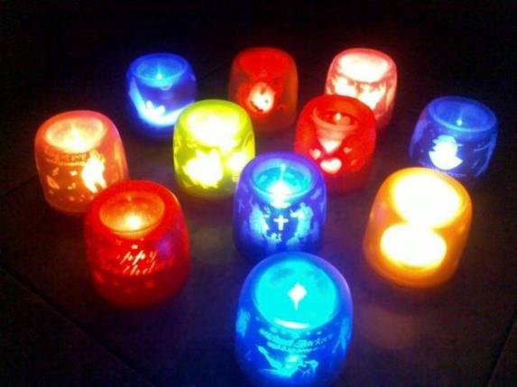 Сенсорная электронная свеча с мерцающими силуэтами (electronic candle). Сердечки, фото 2