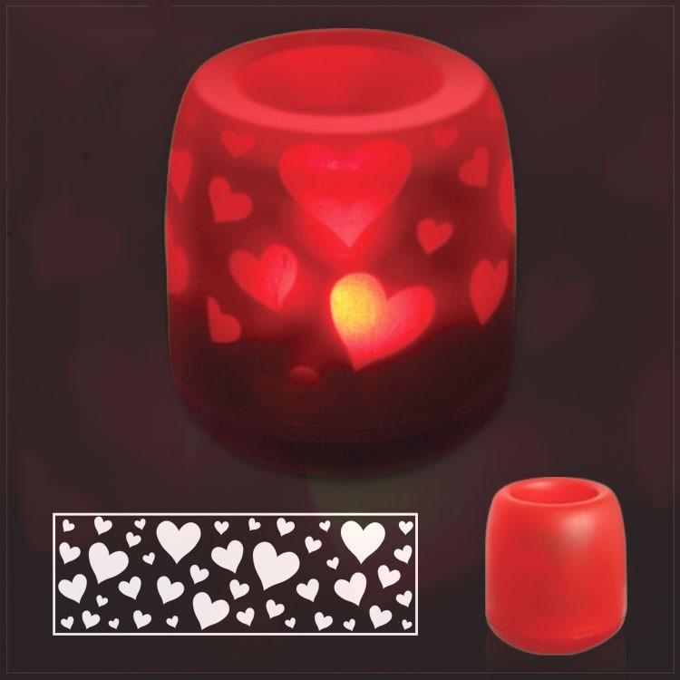 Сенсорная электронная свеча с мерцающими силуэтами (electronic candle). Сердечки