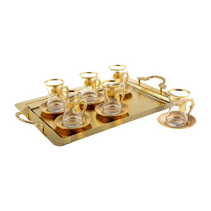 Набор чайных стаканов Sena Damla золотистый на 6 персон