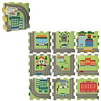 Детский развивающий игровой коврик - пазл для ползания (теплый пол) OBABY разборной 9шт Городок (M 5801)