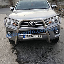 Защита переднего бампера кенгурятник с защитой фар на Тойота Хайлюкс 2019+ Кенгур с защитой картера Toyota