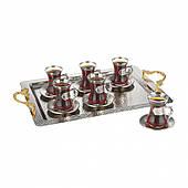 Набор чайных стаканов Doreline Damla серебристый на 6 персон