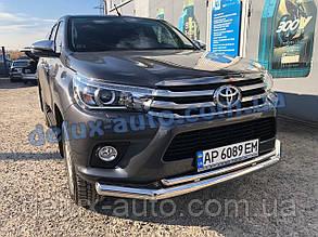 Защита переднего бампера труба двойная Toyota Hilux 2019+ Дуга двойная никель D70-42 Тойота Хайлюкс с 2019