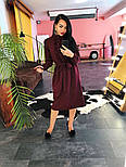 Женское платье-миди с поясом и рюшами(в расцветках), фото 4