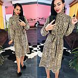 Женское платье-миди с поясом и рюшами(в расцветках), фото 6