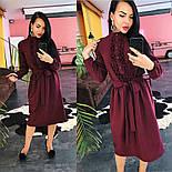 Женское платье-миди с поясом и рюшами(в расцветках), фото 9