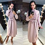 Женское платье-миди с поясом и рюшами(в расцветках), фото 10