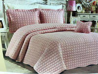 Розовое покрывало с наволочками Istanbul kare-pudra Турция Евро 100% Коттон