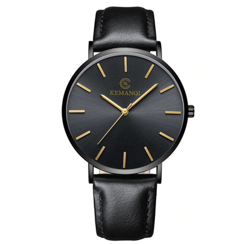 Мужские часы Kemanqi ультратонкие - Черный